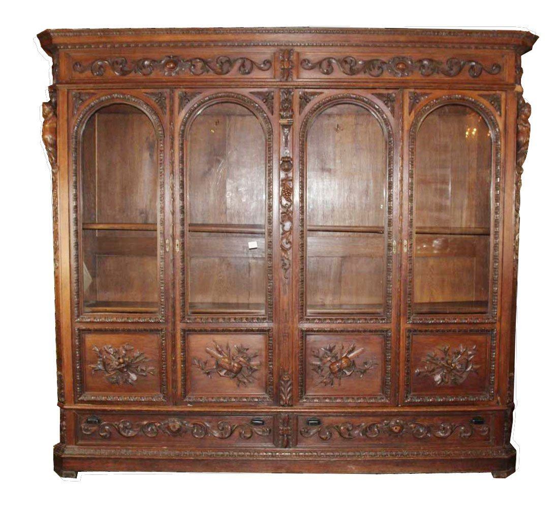 French figural carved oak 4-door bookcase