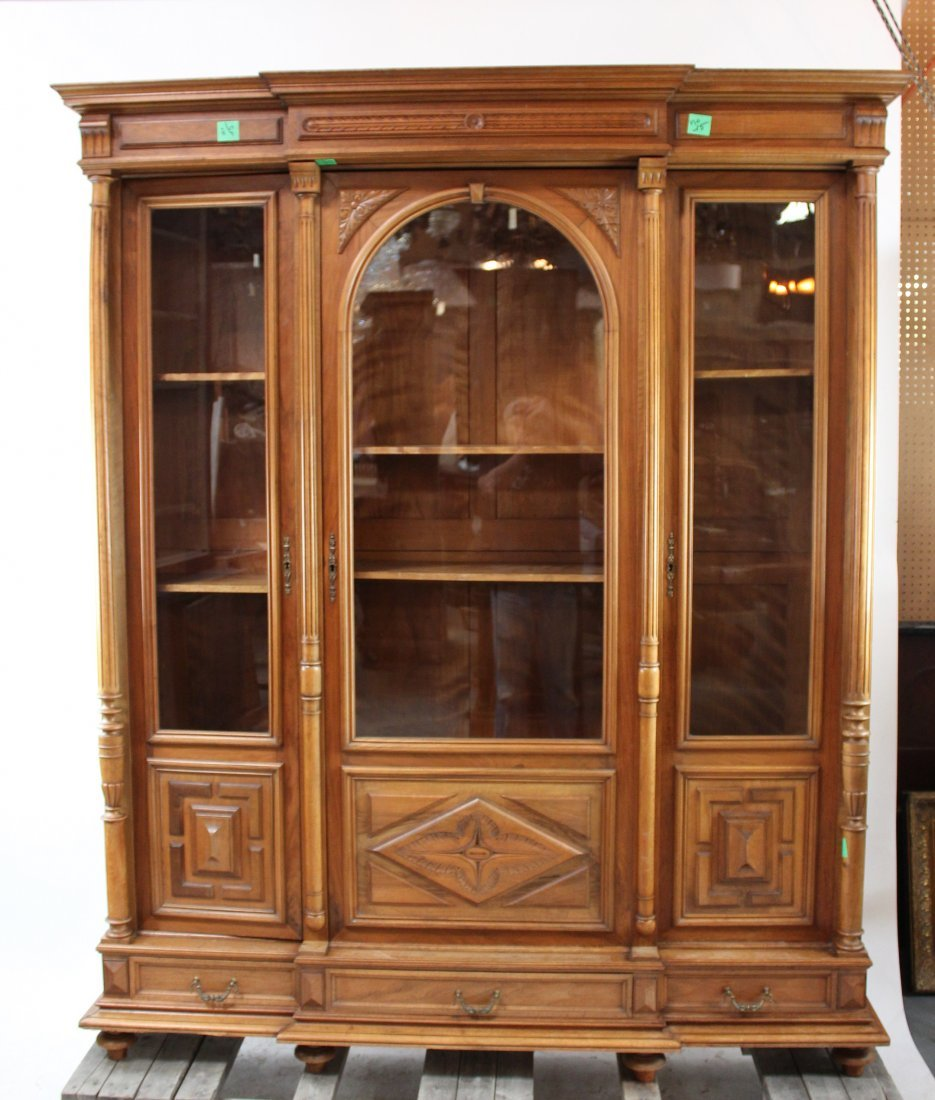 French 3 door bookcase in walnut
