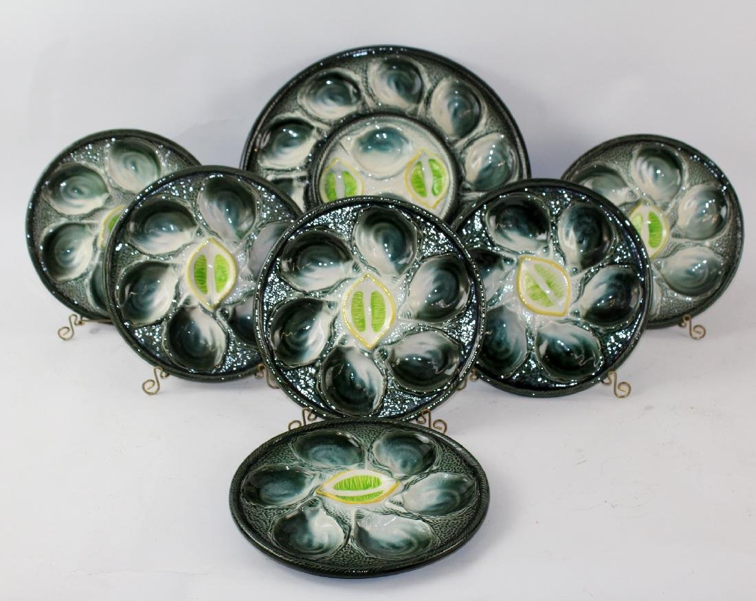 St Clement French Majolica oyster plates