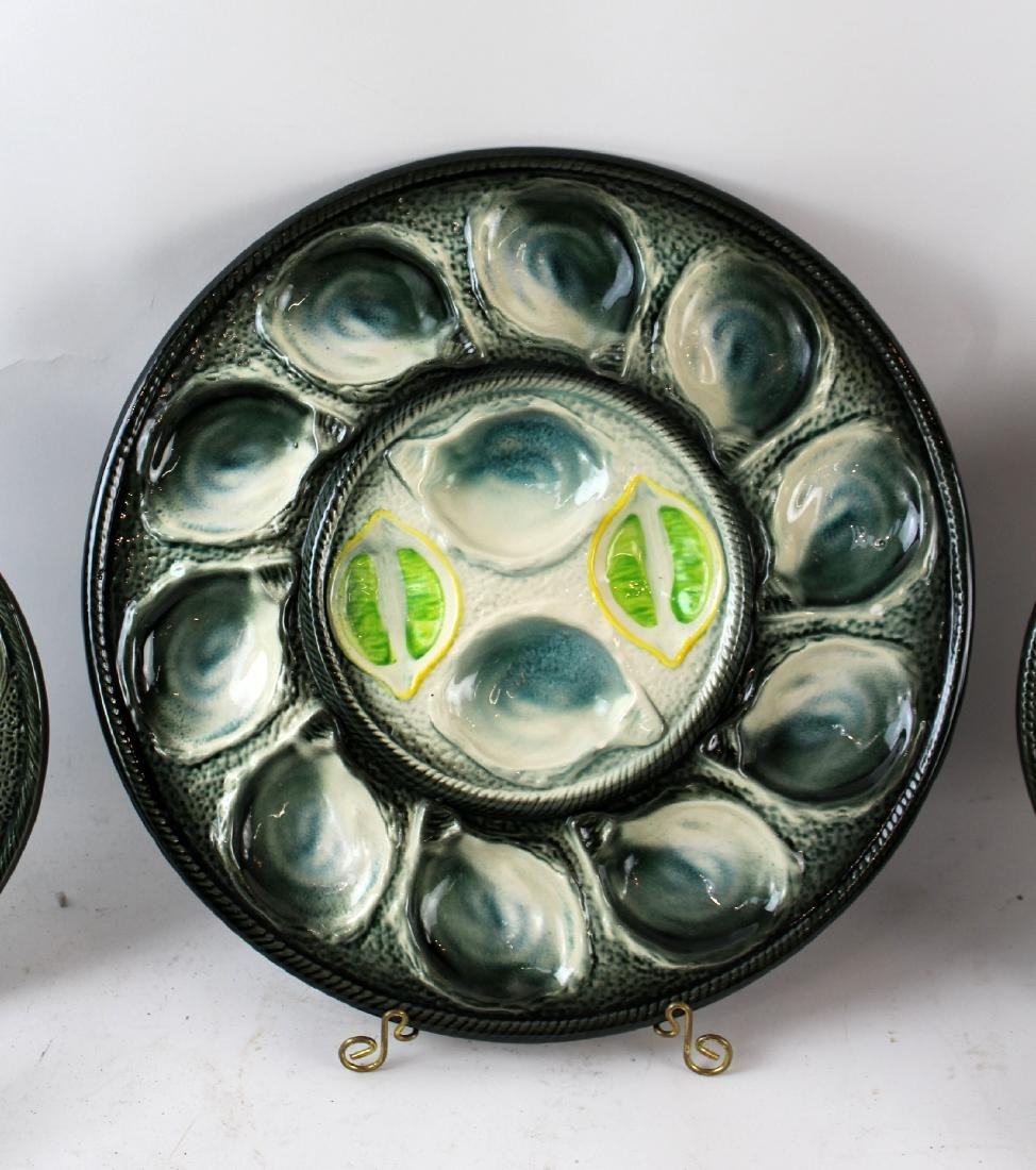St Clement French Majolica oyster plates - 2
