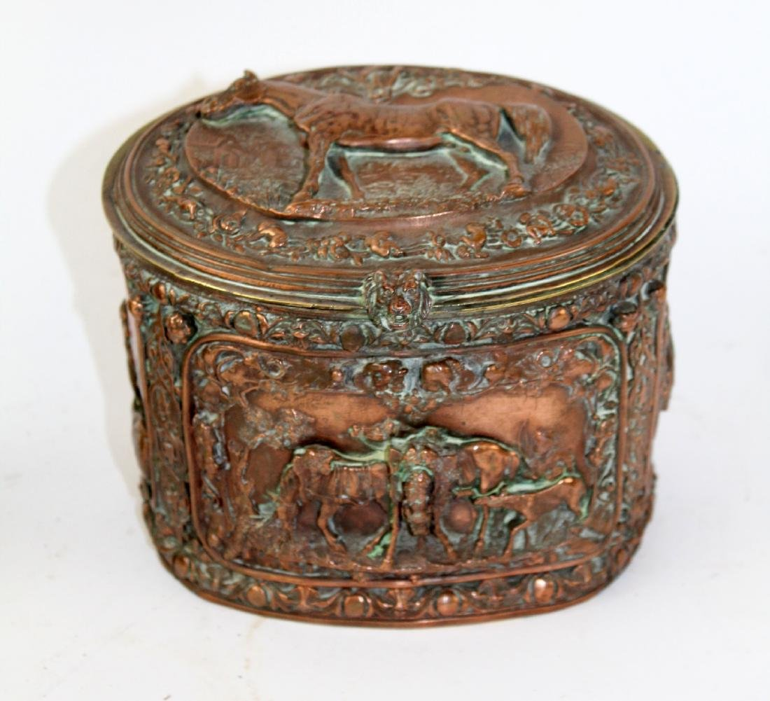French copper relief dresser box