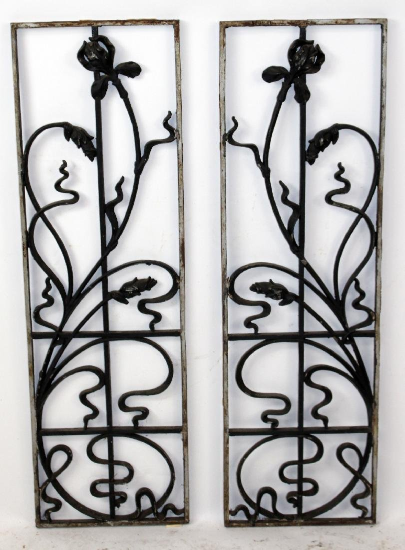 Pair of French Art Nouveau iron panels