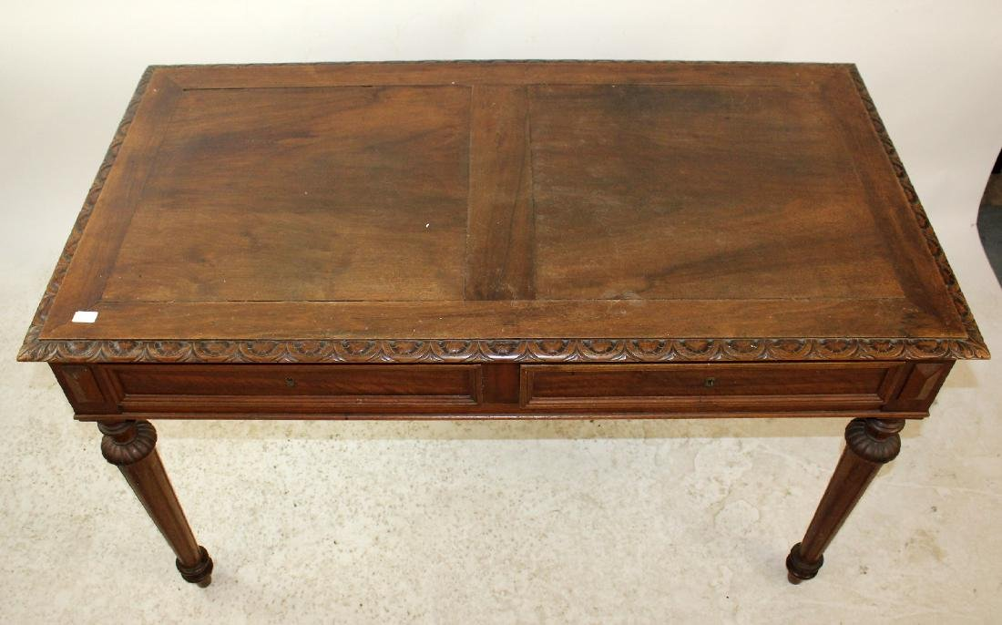 French walnut bureauplat desk - 4