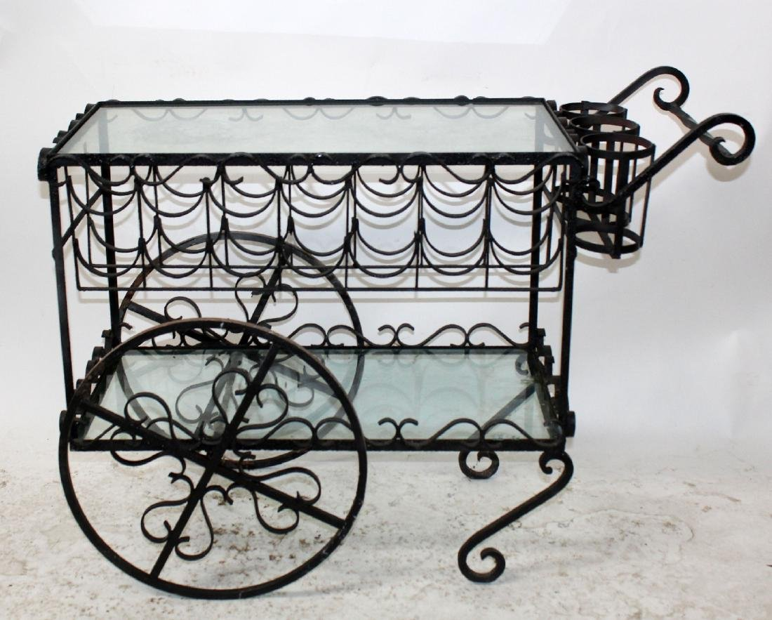 Wrought iron rolling wine cart