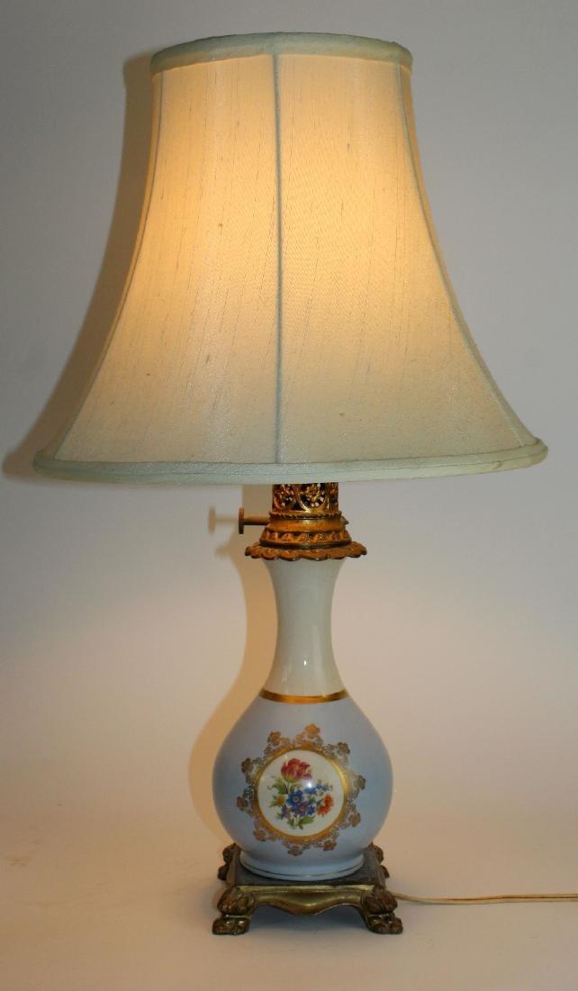 Porcelain floral painted lamp