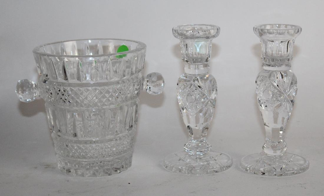 Small crystal ice bucket & pair candlesticks