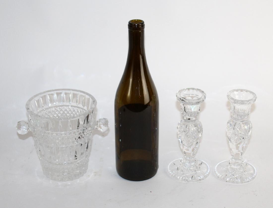 Small crystal ice bucket & pair candlesticks - 2
