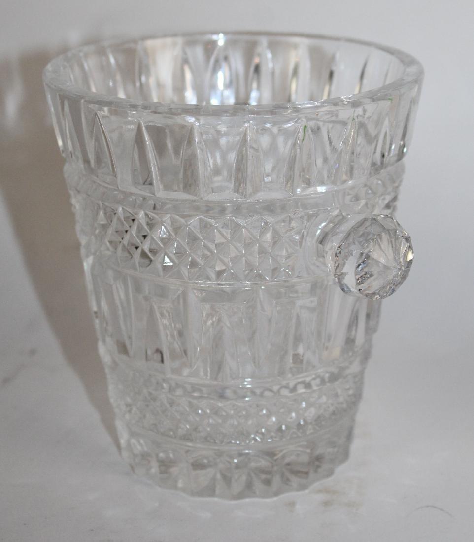 Small crystal ice bucket & pair candlesticks - 3