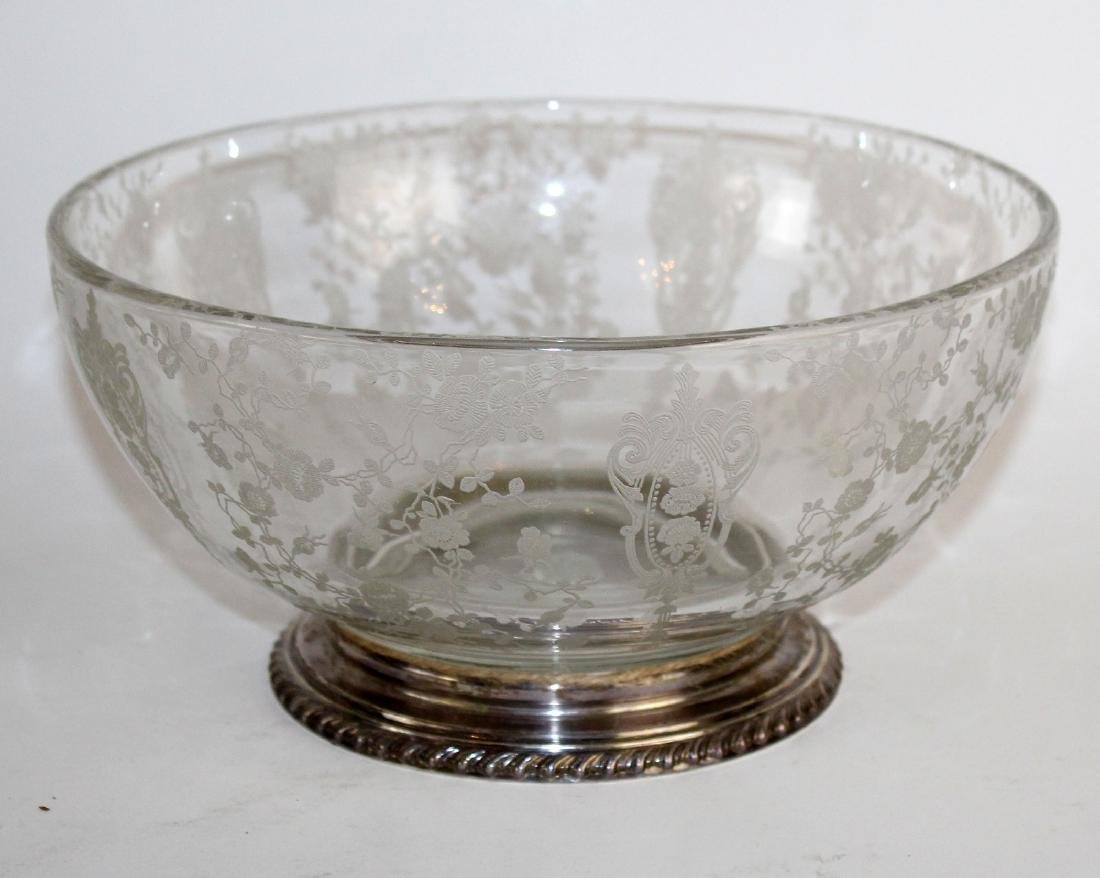 Wallace sterling rim etched glass bowl