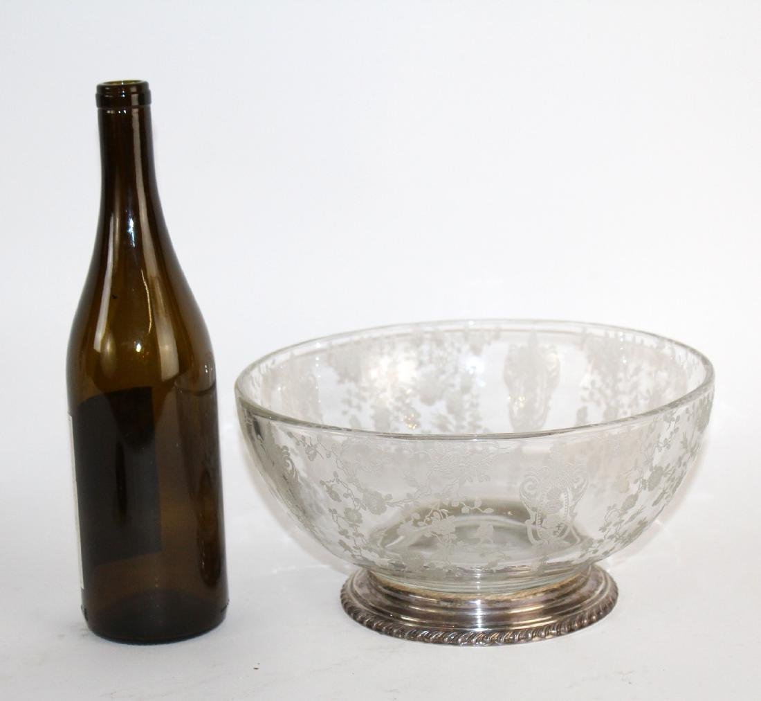 Wallace sterling rim etched glass bowl - 2