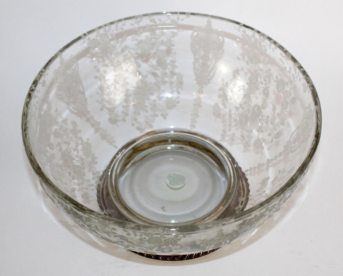 Wallace sterling rim etched glass bowl - 3