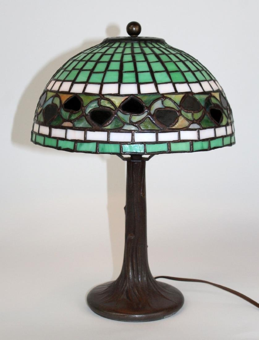 Stained glass desk lamp on tree form base