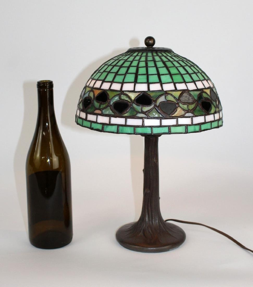 Stained glass desk lamp on tree form base - 2