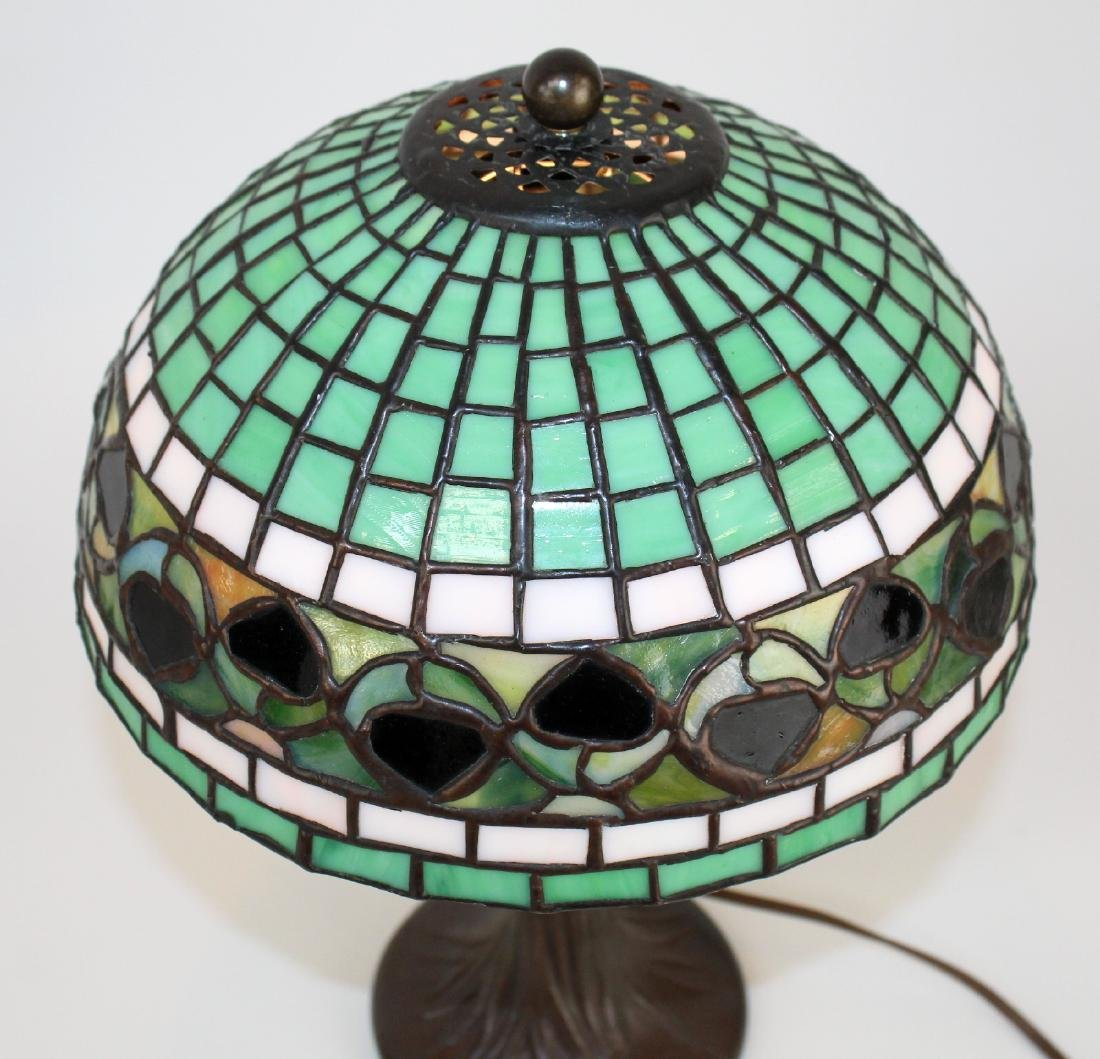 Stained glass desk lamp on tree form base - 3