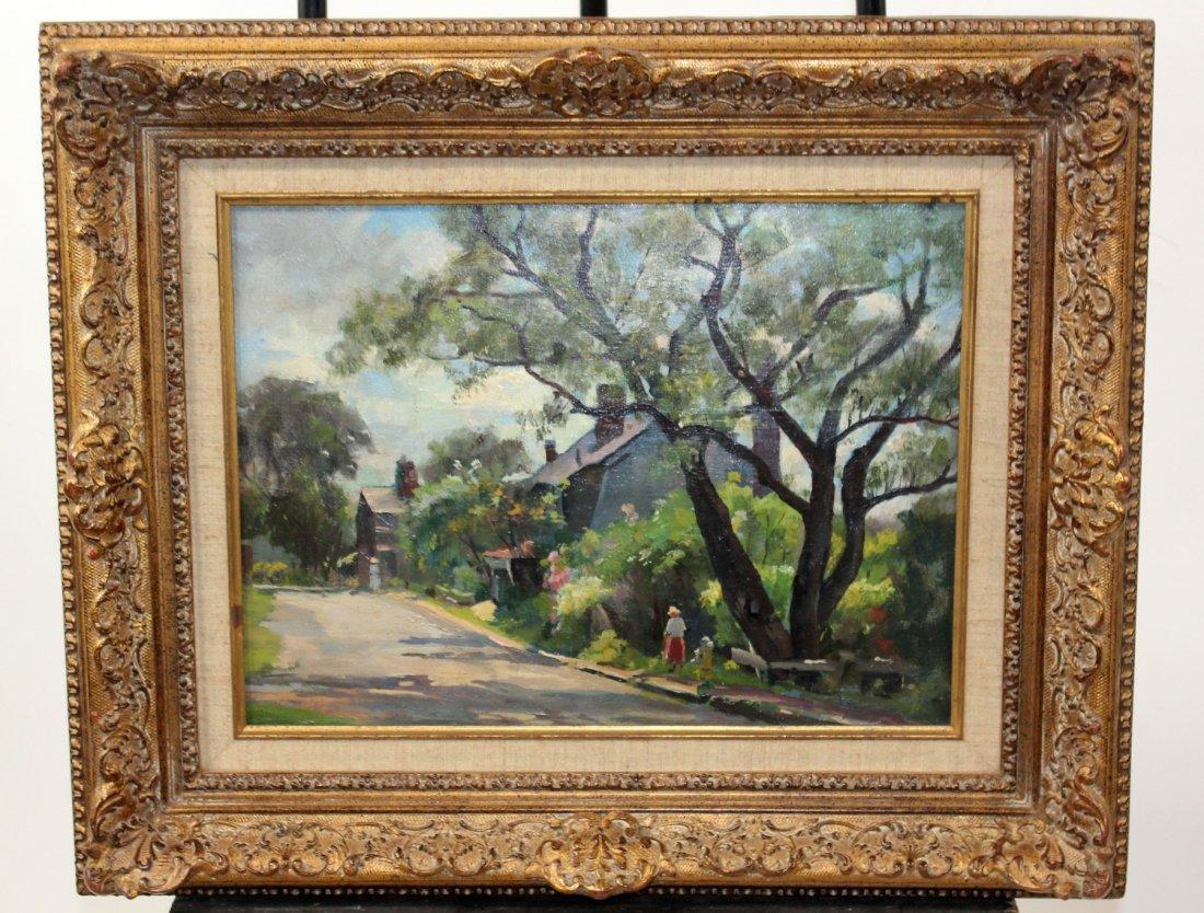 Oil on board depicting village scene