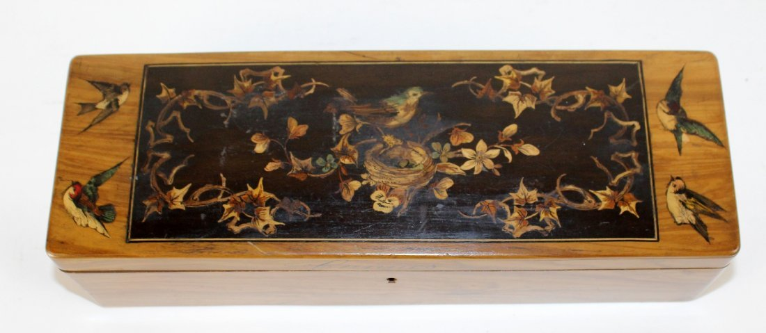 Antique French olivewood glove box