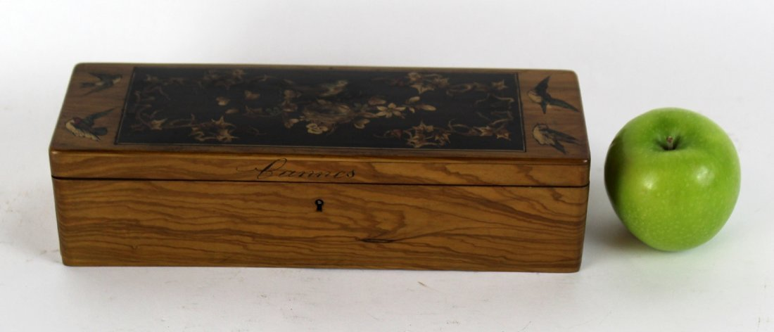 Antique French olivewood glove box - 2
