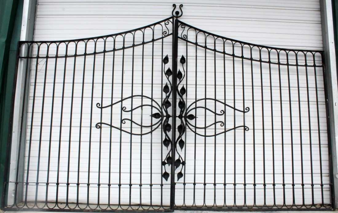 Pair of Art Nouveau style wrought iron driveway gates