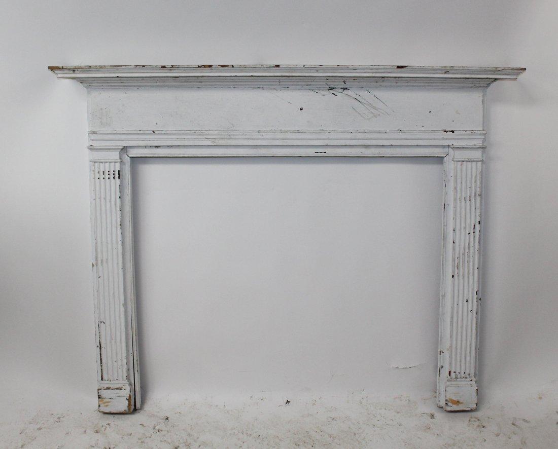 American painted pine fireplace mantel surround - 2