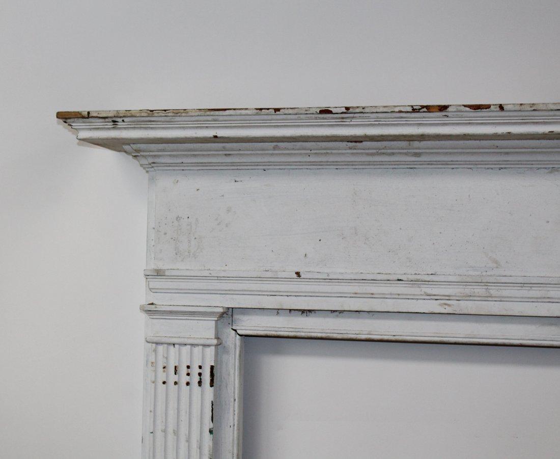 American painted pine fireplace mantel surround - 4