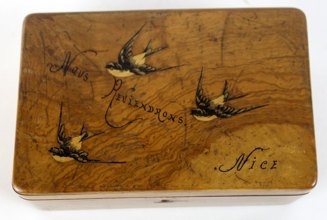 Antique French olivewood dresser box - 5