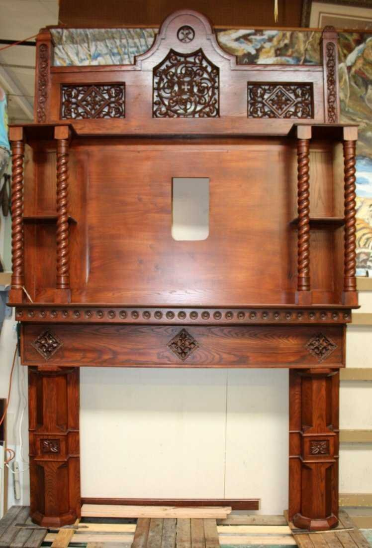 Grand scale oak Gothic style mantel