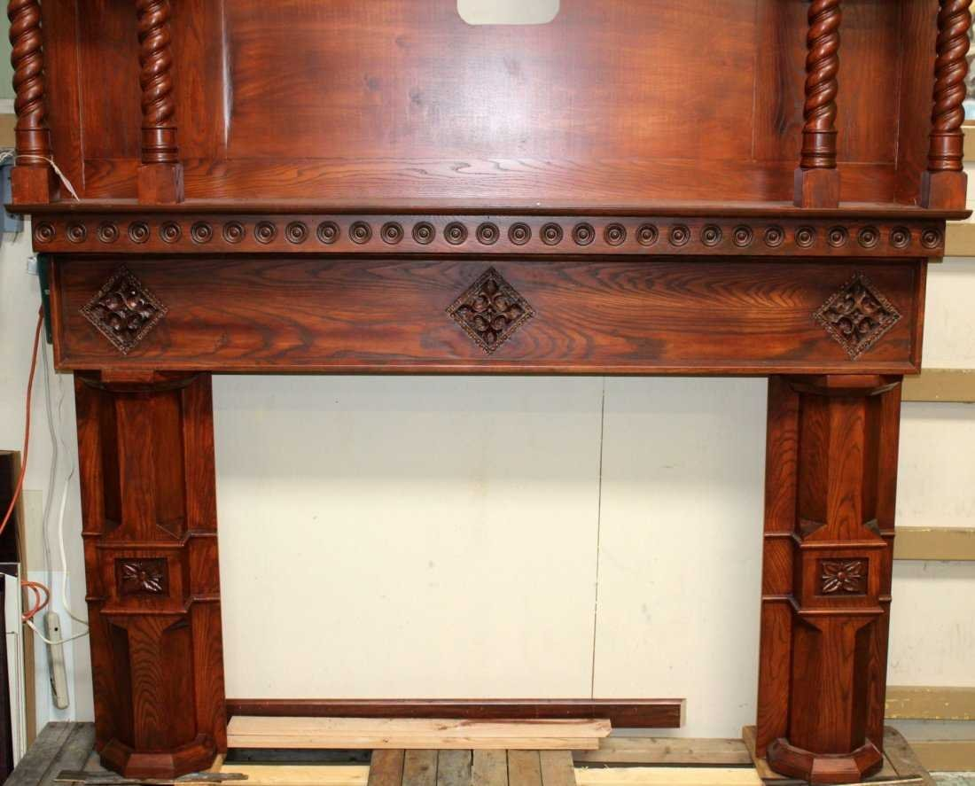 Grand scale oak Gothic style mantel - 4