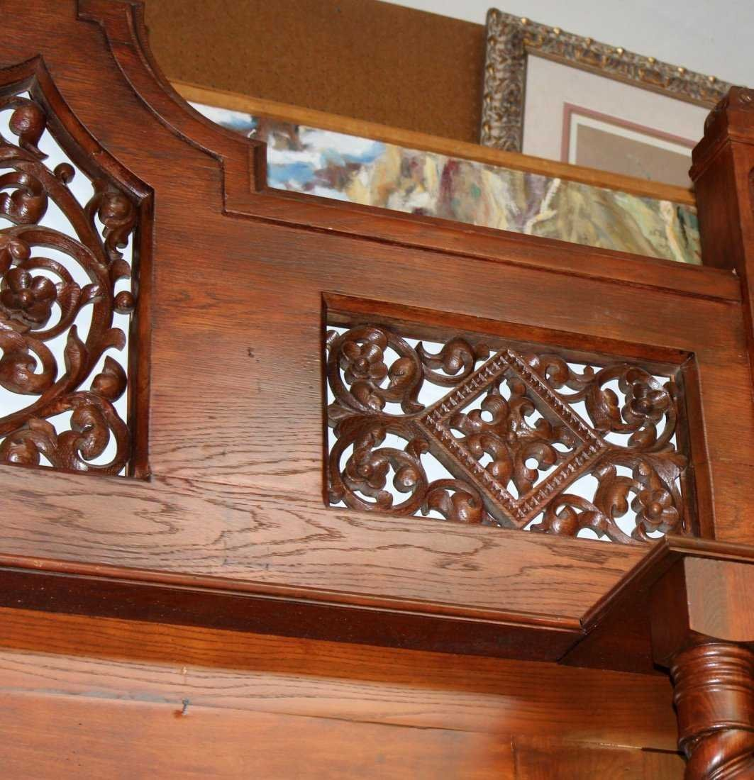 Grand scale oak Gothic style mantel - 5