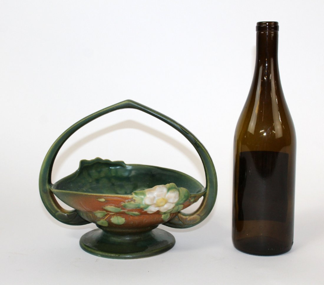 Roseville pottery white rose handled basket - 3