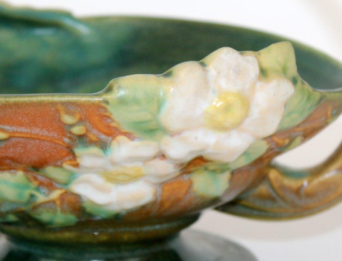 Roseville pottery white rose handled basket - 4