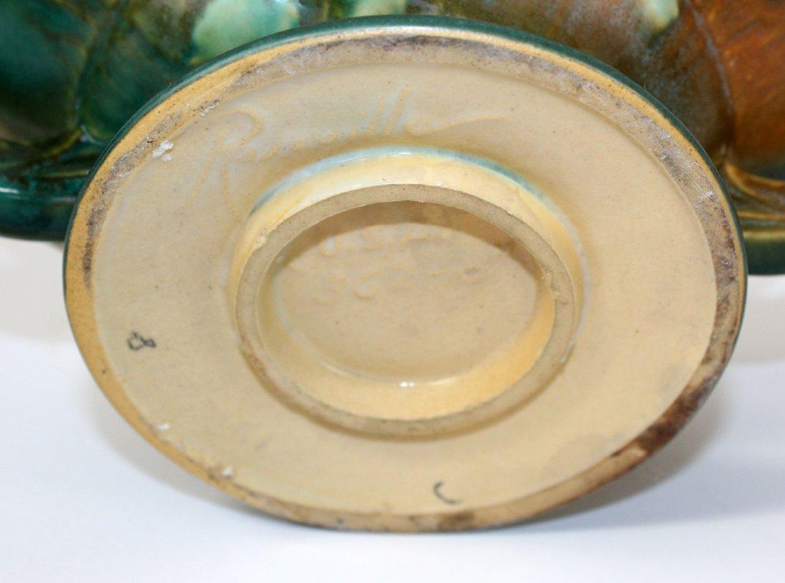 Roseville pottery white rose handled basket - 5