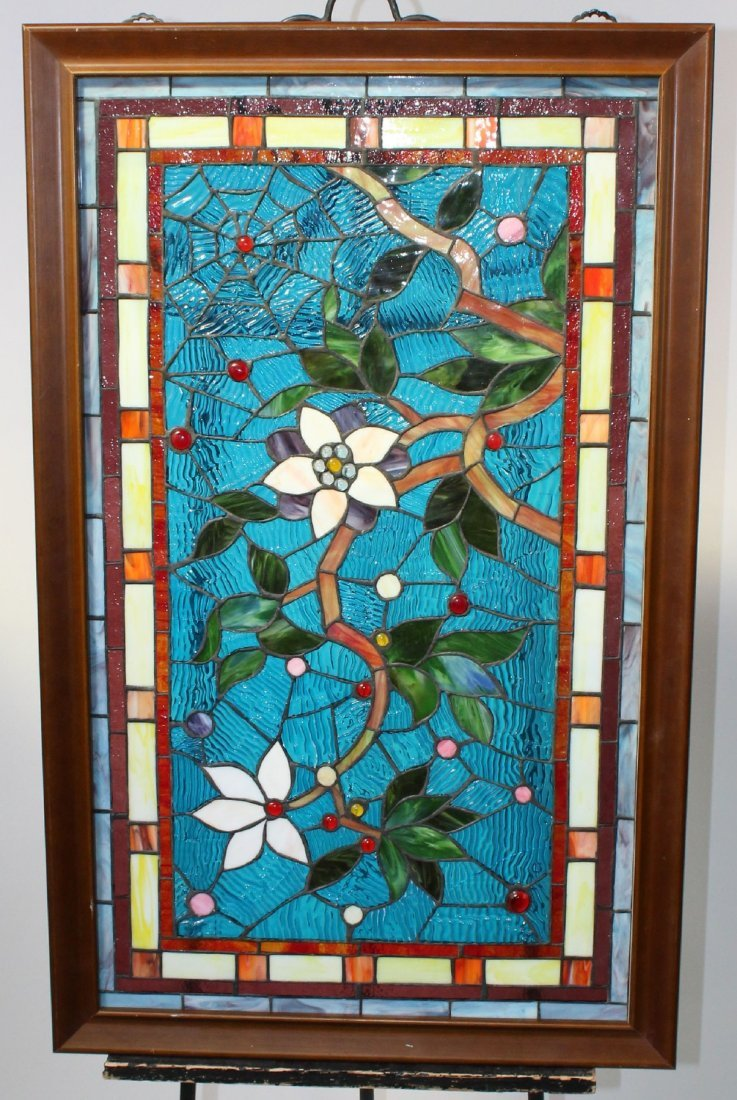 Stained, ripple & jeweled glass panel