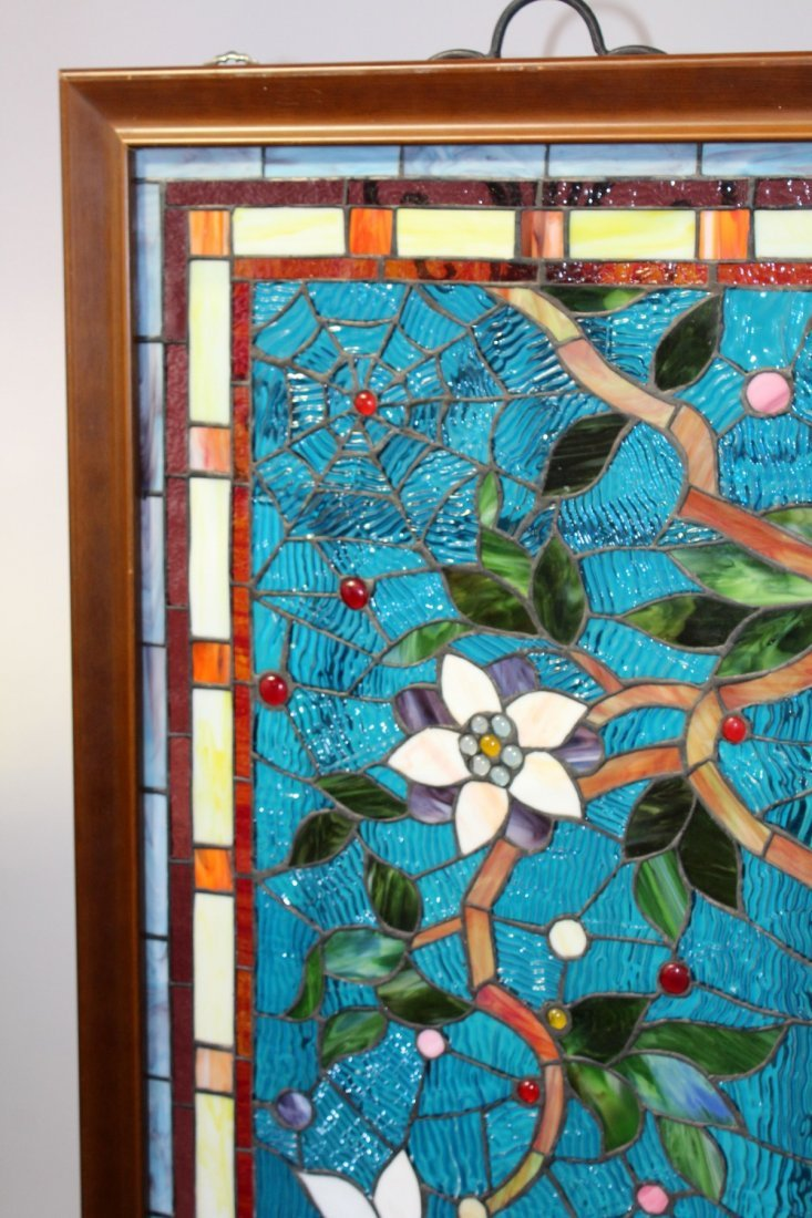 Stained, ripple & jeweled glass panel - 2