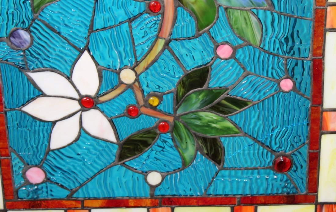Stained, ripple & jeweled glass panel - 3