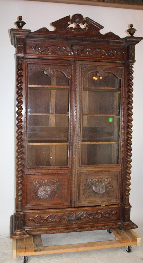 French Louis XIII 2 door oak bookcase