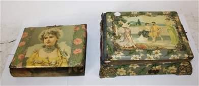 Lot of 2 Victorian photo album wiith music box