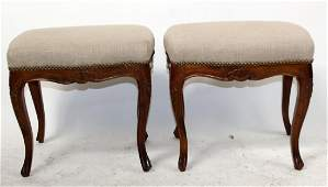 Pair Louis XV style upholstered footstools