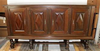 4 door veneered sideboard with geometric panels