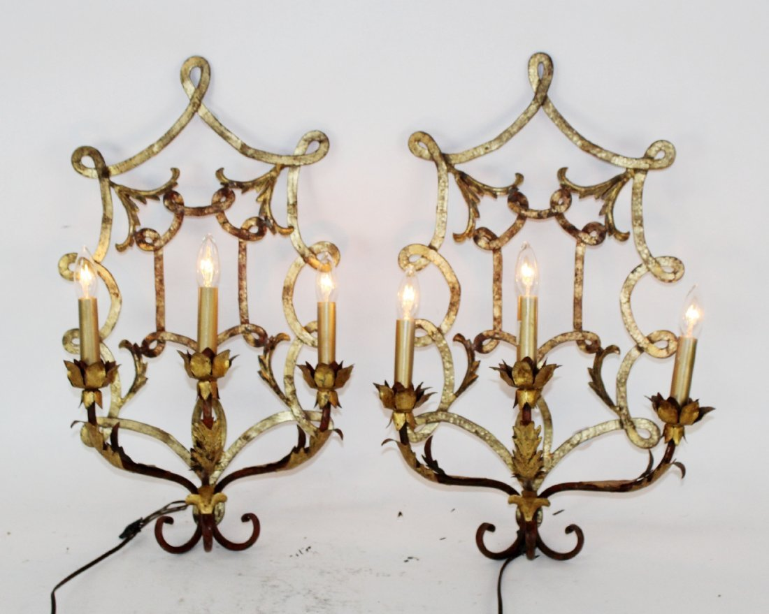 Pair Chinese Chippendale gilt sconces with leaf detail
