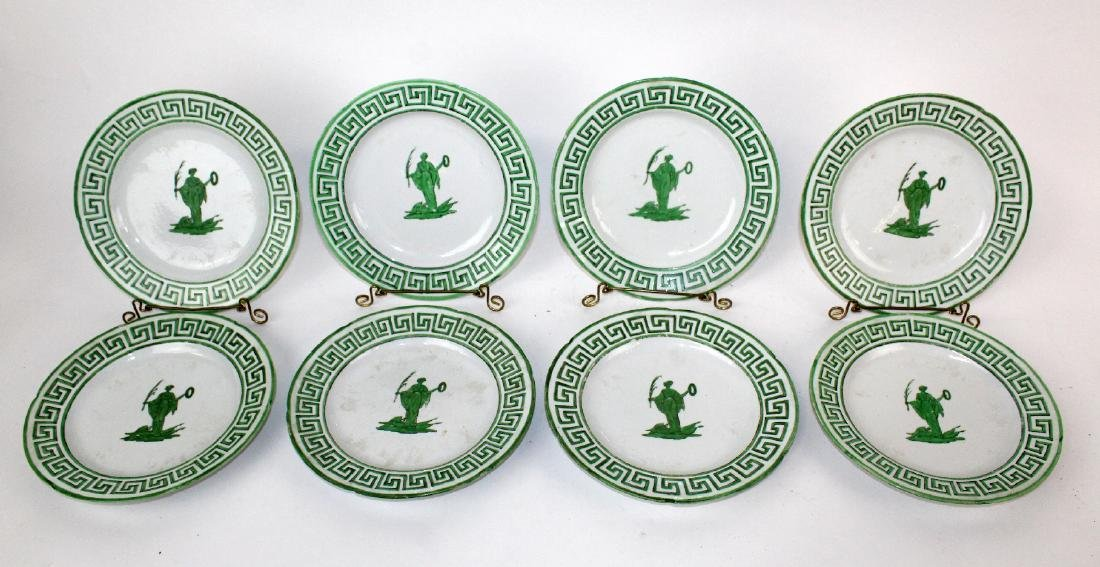 Lot of 8 green & white plates with greek key design.