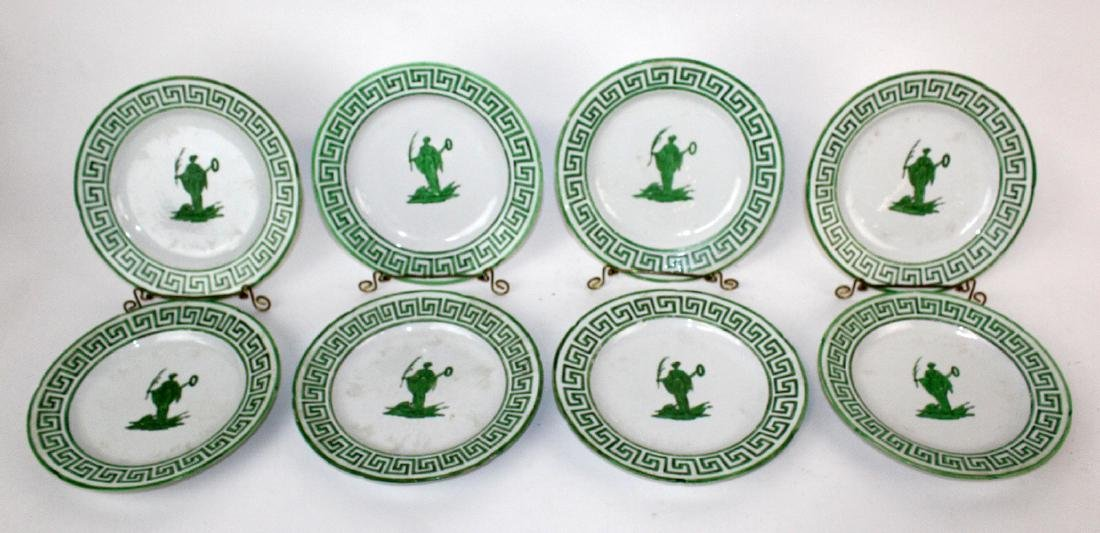 Lot of 8 green & white plates with greek key design. - 4