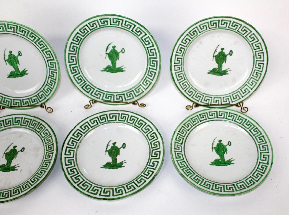 Lot of 8 green & white plates with greek key design. - 5