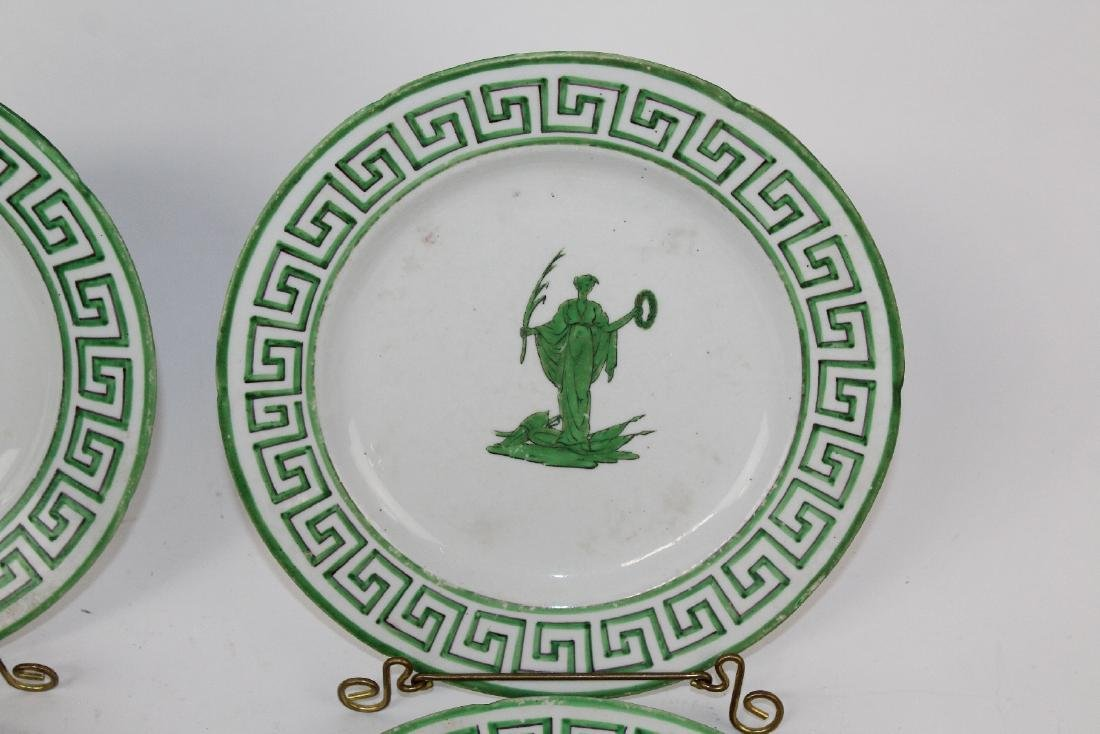 Lot of 8 green & white plates with greek key design. - 6
