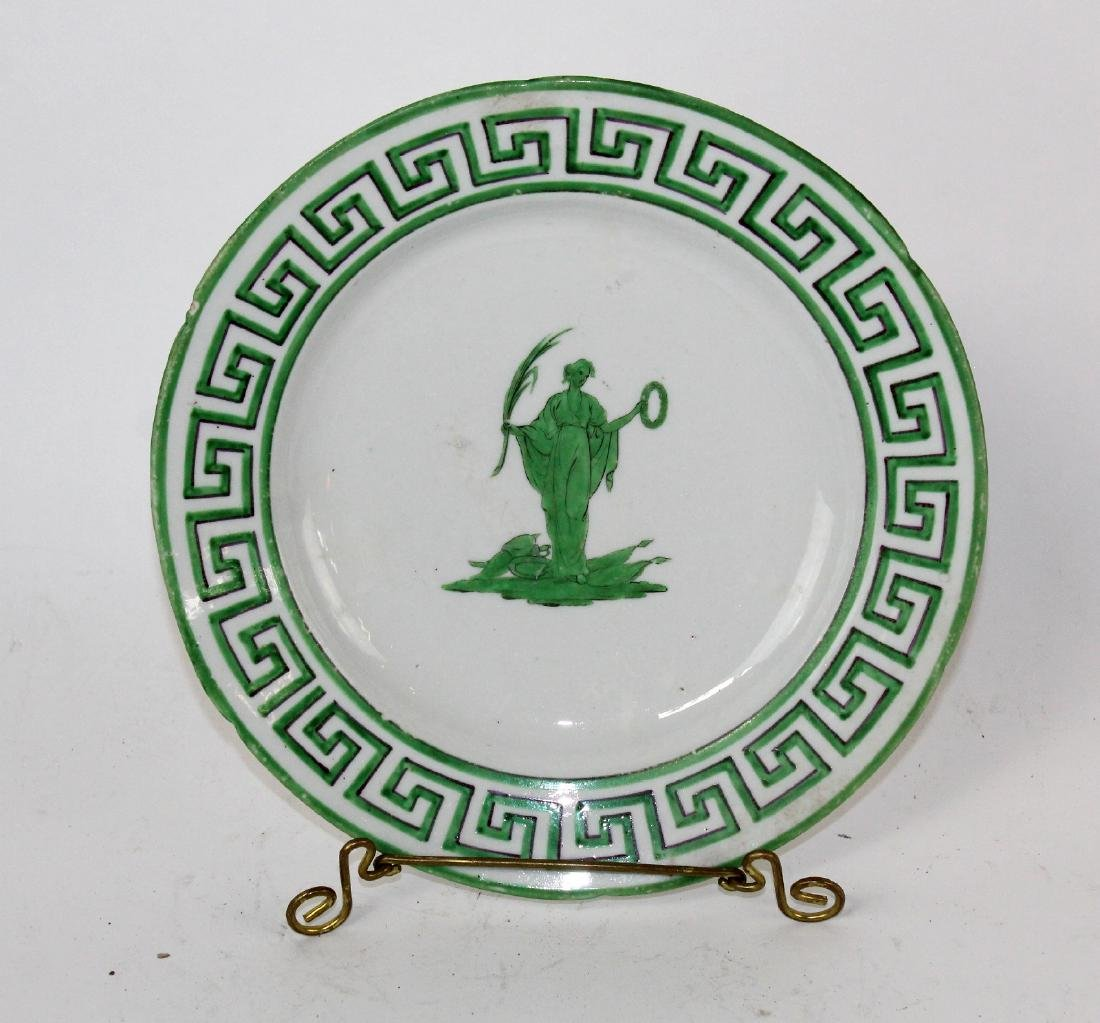 Lot of 8 green & white plates with greek key design. - 7