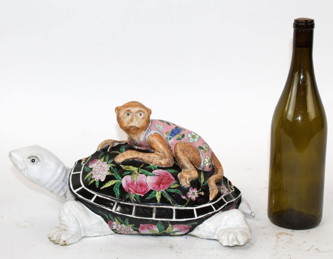 Chinese ceramic figurine monkey on turtle sculpture - 2