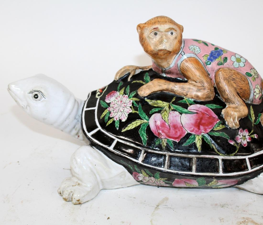 Chinese ceramic figurine monkey on turtle sculpture - 5