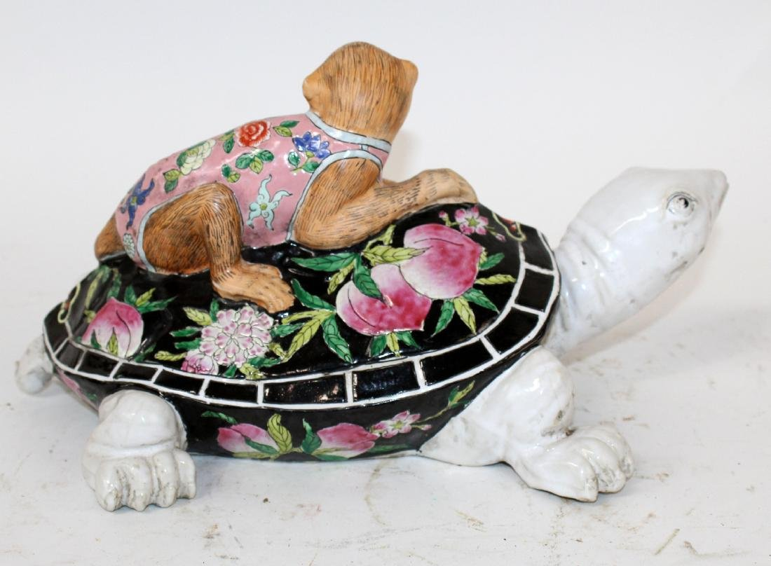 Chinese ceramic figurine monkey on turtle sculpture - 6