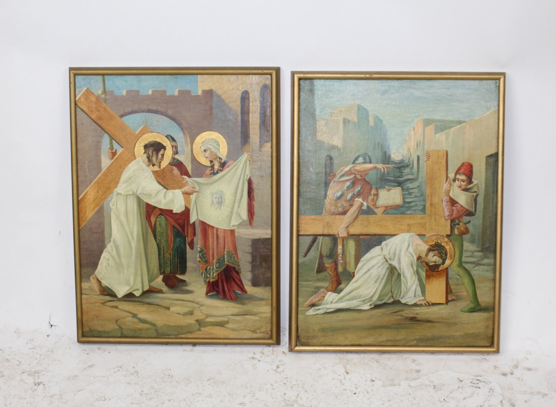 Pair Oil on canvas depicting Jesus and the cross