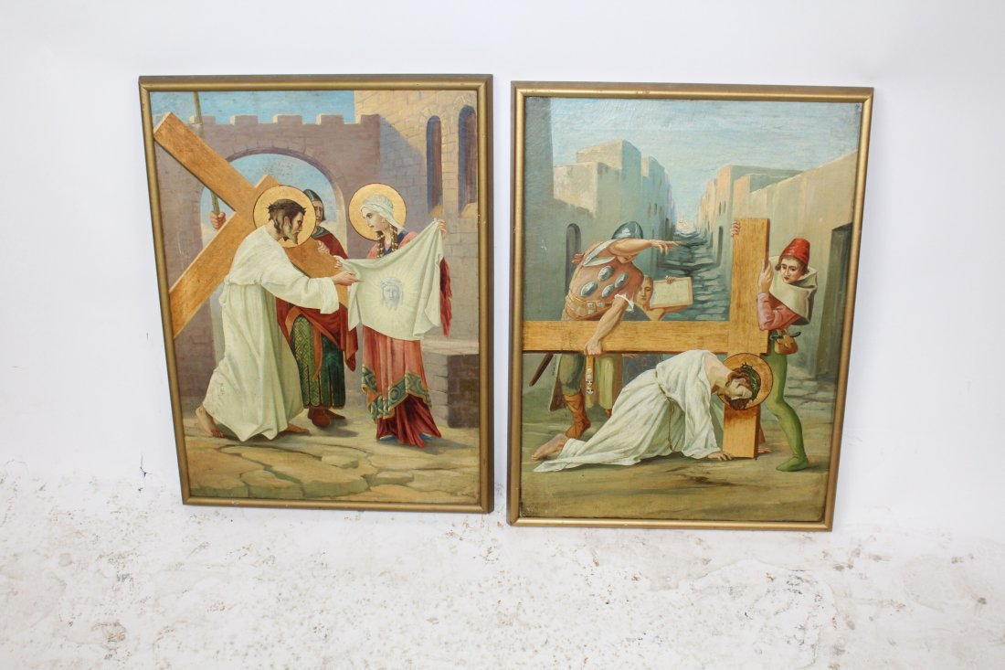 Pair Oil on canvas depicting Jesus and the cross - 2