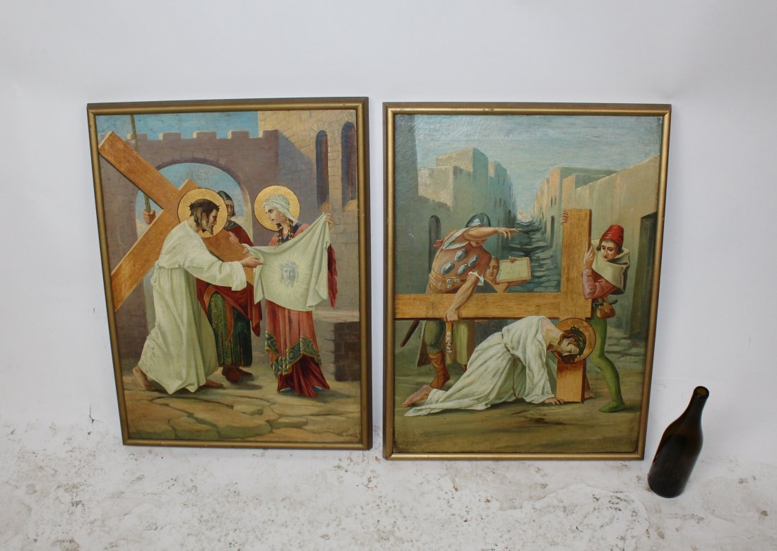Pair Oil on canvas depicting Jesus and the cross - 3